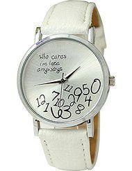 """Reloj de pulsera - SODIAL(R)Reloj unisex con """"who cares, I'm late anyways"""" y Reloj de pulsera de cuero de numeros arabes Reloj analogo de cuarzo Blanco"""