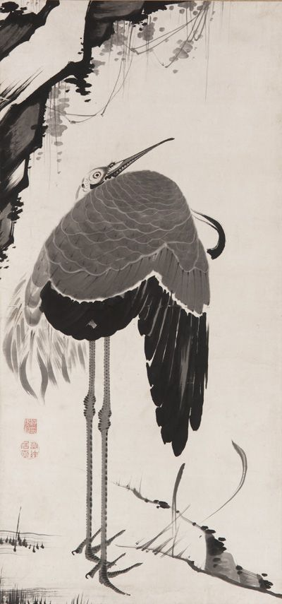 Jakuchu Ito(伊藤若冲 Japanese, 1716-1800)  Cranes, one of a pair  Ink on paper