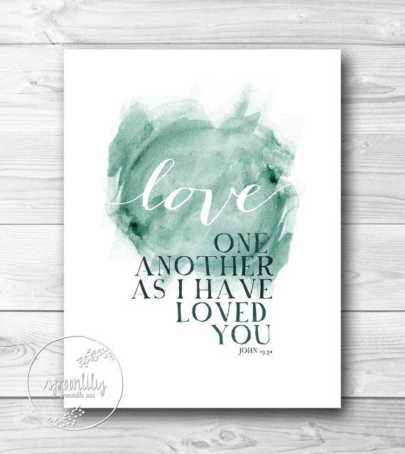 Bible Verse Typography Art Quote - John 13:34 love one another - scripture home decor, Wall ART PRINT