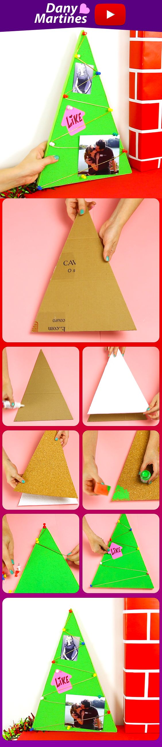 Faça você mesmo uma linda arvore de Natal que serve também como painel de fotos, porta recados, decoração Natalina, DIY, do it yourself, Dany Martines