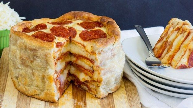 This is a Pepperoni Pizza Cake, which is just a layer of pizza, topped with another layer, and another...