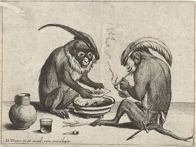Two monkeys smoking a pipe. From a suite of anthropomorphic engravings from 1635 by Quirin Boel & David Teniers