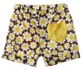 Flower Power Shorts - Korte broek met bloemen en gele zakjes