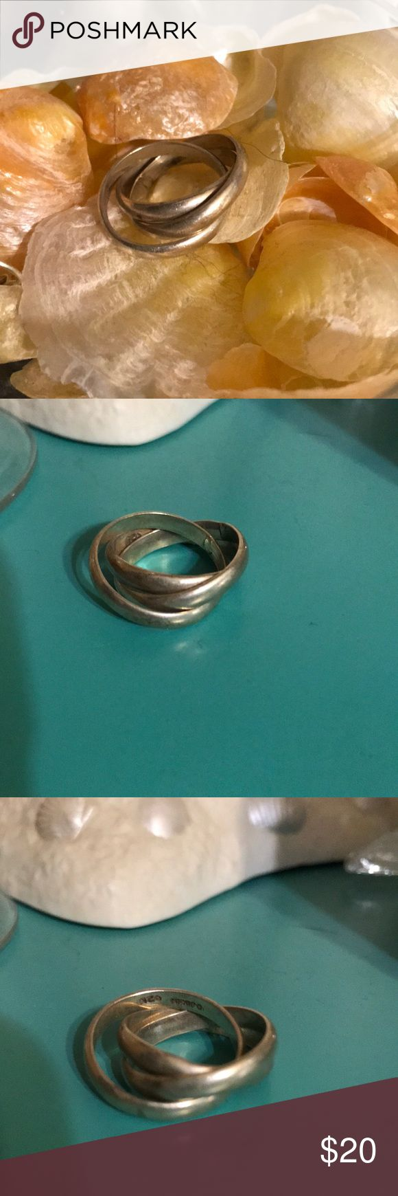 """Stirling silver triple band rolling ring Triple band rolling ring Stirling silver  Sometimes called """"Russian wedding ring"""" Jewelry Rings"""