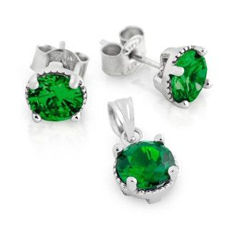 Emerald Green Birthstone earrings and pendent