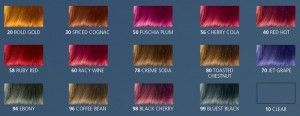 Jazzing hair color Chart