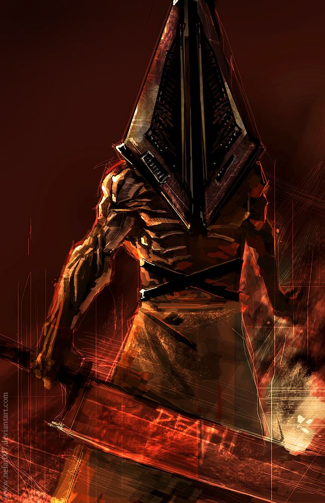 Pyramid Head is the main antagonist of Silent Hill 2 and serves as quite possibly the most famous example of his series' use of psychology and symbolism. The game's plot starts when James Sunderland (the protagonist) receives a letter from his wife asking him to meet her in Silent Hill - but his wife's supposed to be dead. Pyramid Head stalks James throughout the game until the end where he's the final boss, and he represent James' wish to be punished for his wife's death.