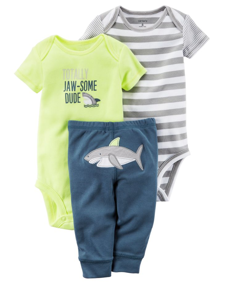 Baby Boy 3-Piece Neon Little Character Set Featuring a cute little shark on the bottom and two coordinating bodysuits, this babysoft cotton set lets him mix and match with essential pants.