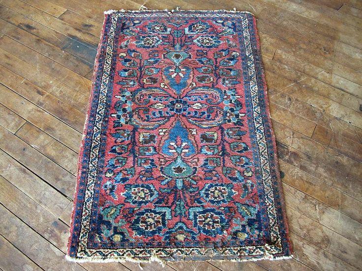 Pink Foyer Rug : Vintage distressed pink blue persian rug bathroom mat