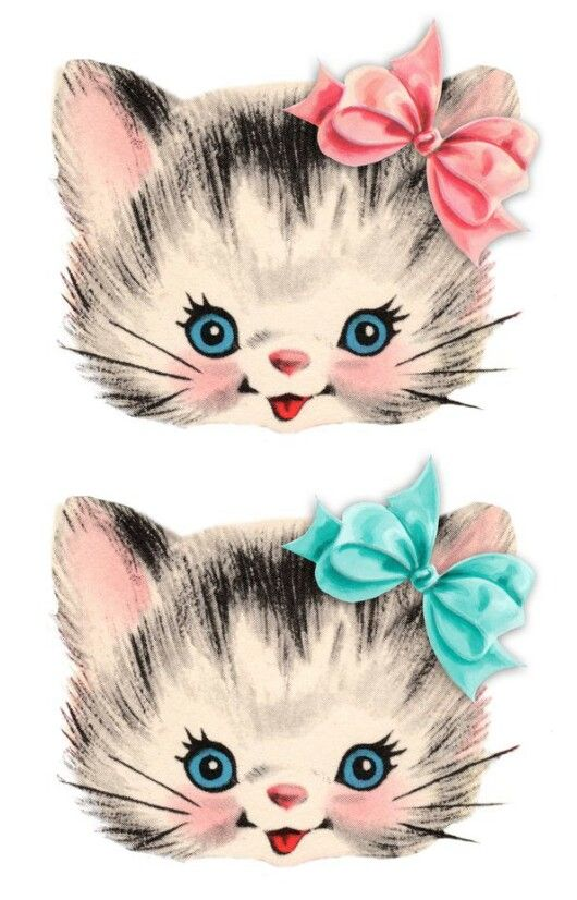 Vintage kittens cats with  pink and green bows