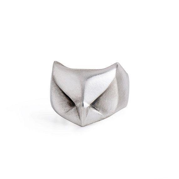 Búho Cornudo, búho anillo, plata, joyería animal, Anillo unisex, células en anillo de buho