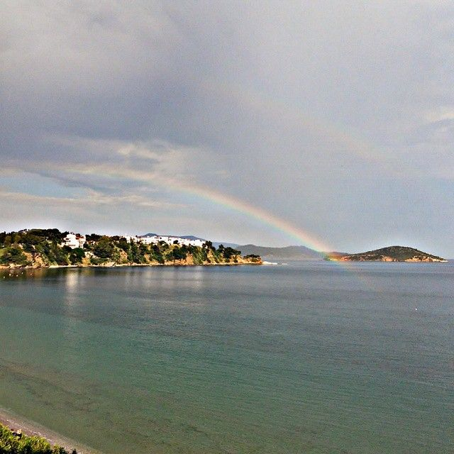 Rainbow over Skiathos island In sporades Greece (view from Aphrodite Studios)
