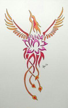 Afbeeldingsresultaat voor lotus flower tattoo fenix bird