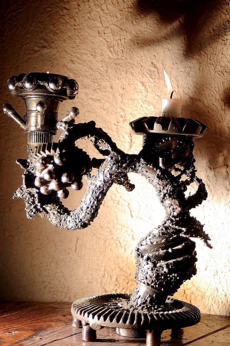 Candlestick. Scrap welding steel art. Surindustrialle Gallery in Lodz / Poland. Scrap metal art, welding applied art and jewellery