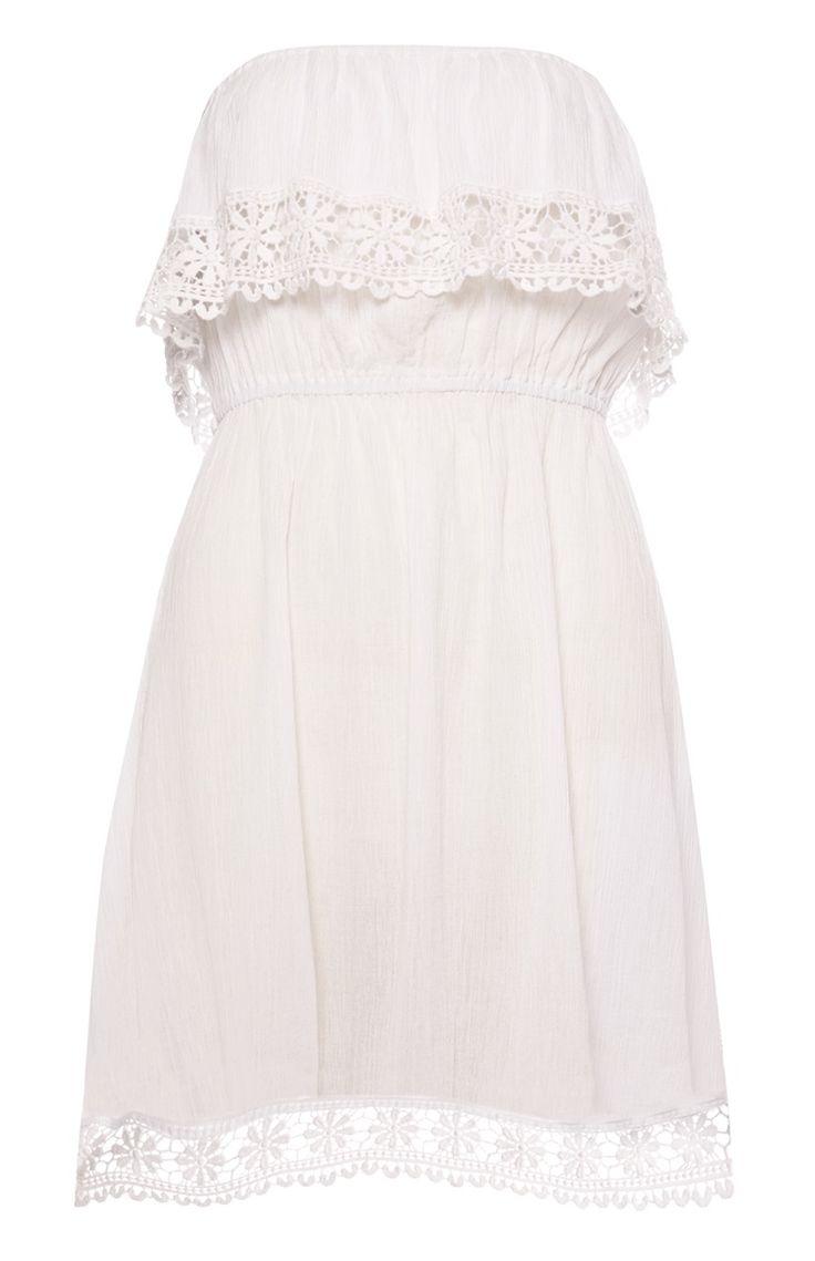 Weißes Bandeau-Kleid mit Häkelverzierung