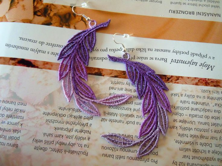Lace Earrings - Levander Feather from Lace-Design by DaWanda.com