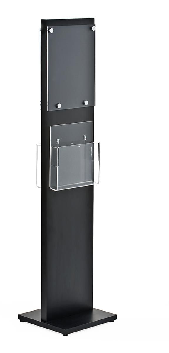 8.5 x 11 Acrylic Sign Stand, 2 Adjustable Brochure Pockets, 2-sided - Black