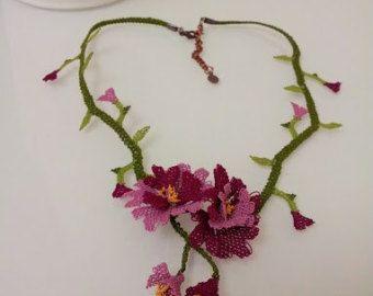 Lila violett Halskette lila häkeln Halskette von needlecrochet