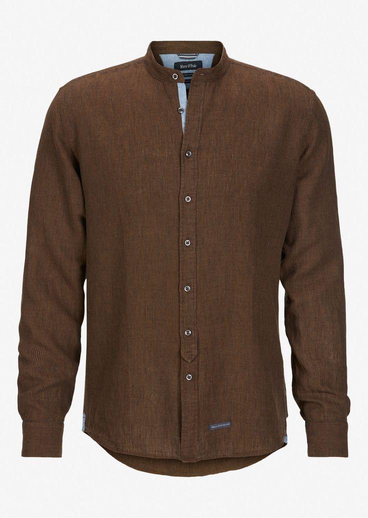 Marc o Polo Langarm-Hemd aus softem Leinen-Mix mit Stehkragen