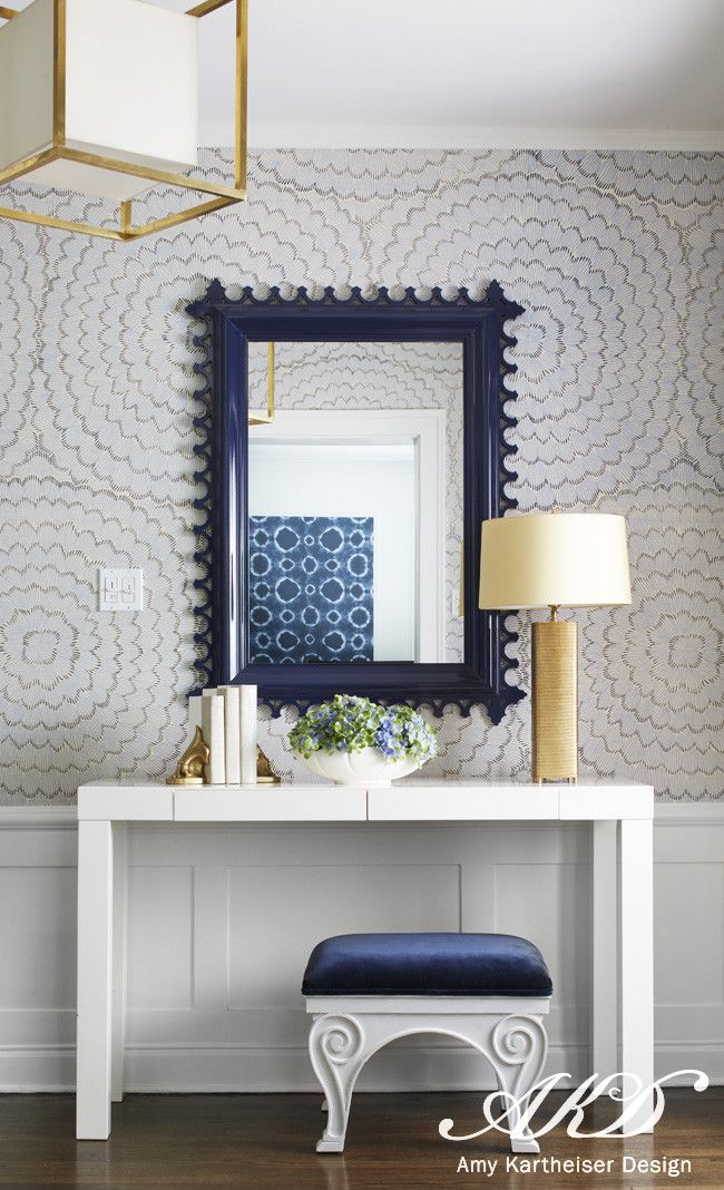 Navy Blue Scalloped Foyer Mirror