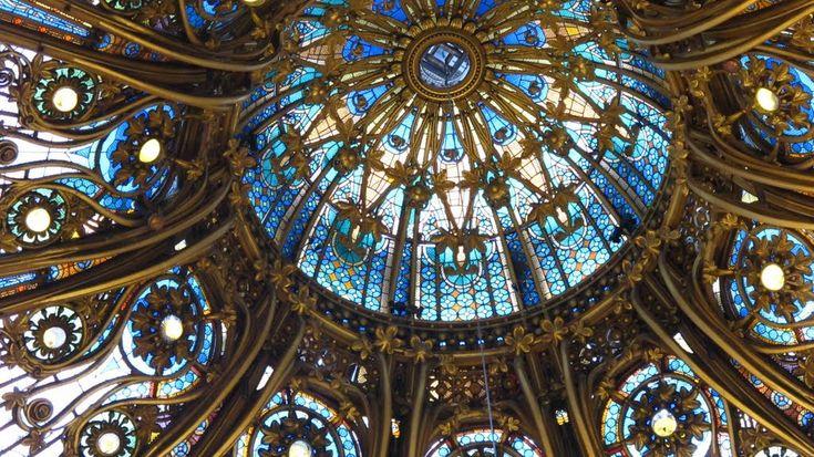 Art nouveau architecture stained glass dome is a bright - Art deco and art nouveau ...