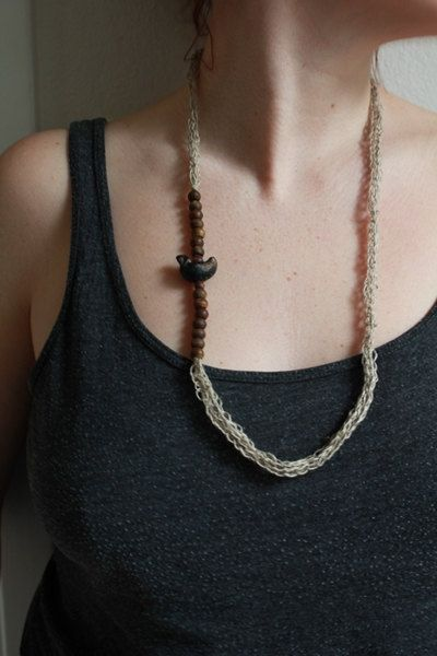Bird Necklace natural linen wood and clay by TrivialityLab on Etsy