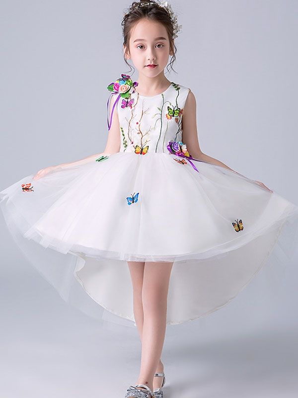 83aa503a0 Embroidery Bow Stereo Flowers Round Collar Sleeveless Mini Dress ...