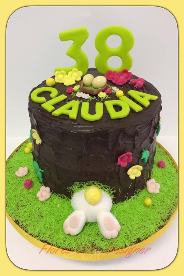 FLOWER CAKE DESIGNER: Bolo de aniversário com tema de Páscoa