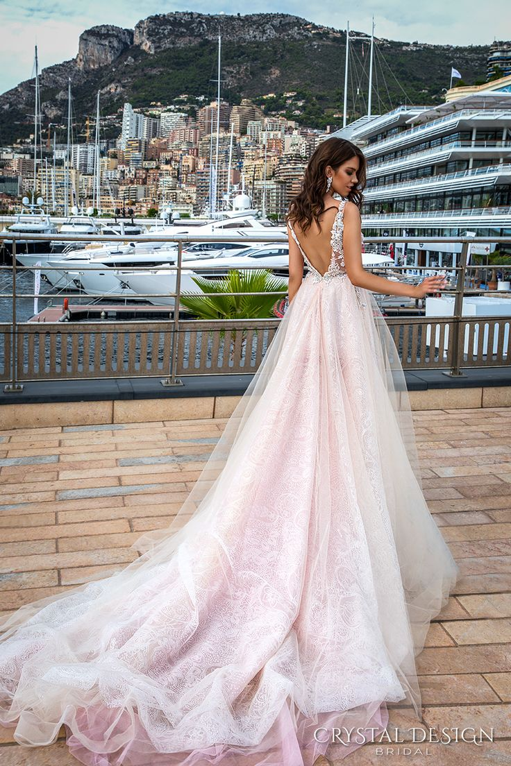 crystal design 2017 bridal sleeveless v neck heavily embellished bodice tulle skirt princess romantic blush color a  line wedding dress low back long royal train (andrea) bv