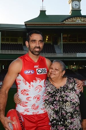 Adam Goodes with his mother Lisa Sansbury, unveiling the Sydney Swans' first ever Indigenous Round guernsey in May.