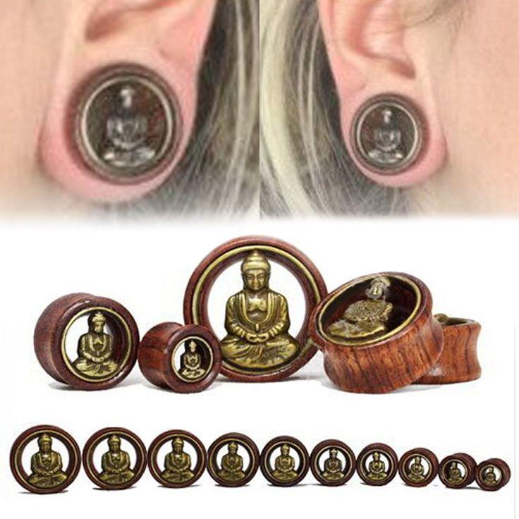 Pair Wood Brass Buddha Ear Tunnels Flesh Tunnels Ear Gauges Ear Plugs | eBay