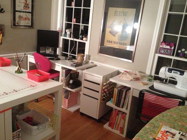 Love the 2 desks from ikea for sewing and stamping for Ikea craft room furniture