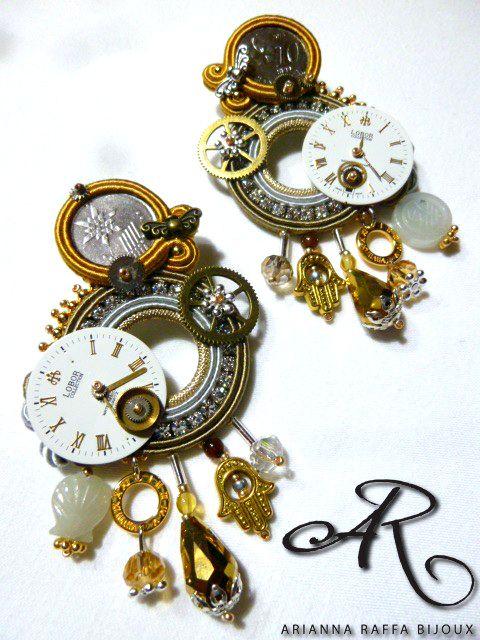 """Orecchini soutache stile """"Steampunk""""...con monete e quadranti di orologi veri..."""