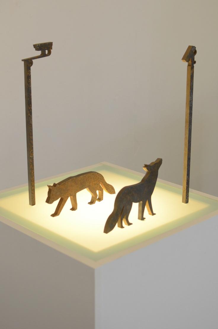 Urban: An Installation by Matthew Otten. Inspired by the urban fox, made from steel and glass.   www.matthewotten.co.uk