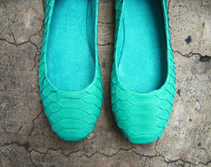 NEON FLATS - Mint Green Python Snakeskin Leather Shoes Ballet Flats by linmade on Etsy