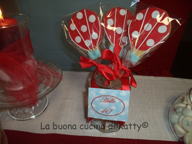 Katty's cakes - Le torte di Katty : Party Red hot air balloon in the sky - Festa mongolfiere rosse nel cielo