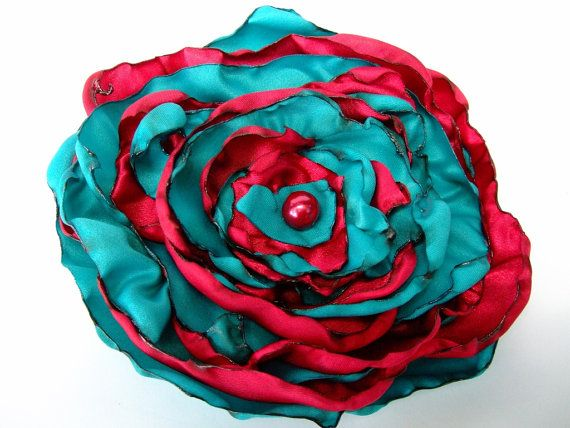 Red and Aqua Blue Teal Fabric Flower Hair Clip, Pin Brooch, Costume Jewelry, Bridesmaids hair accessories, Women, Girls, Teens