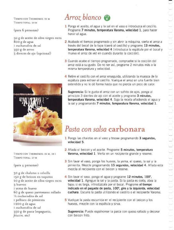 Arroz blanco y pasta con salsa carbonara