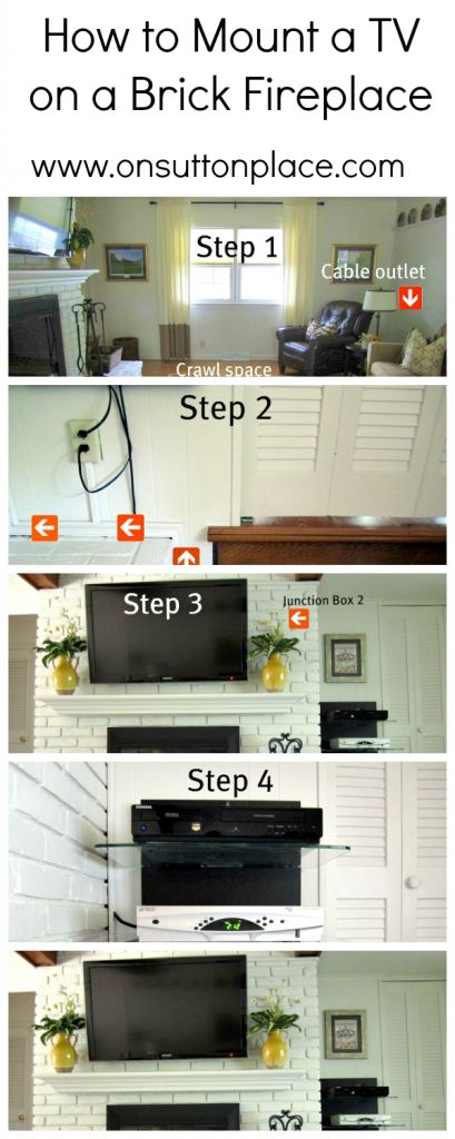 How to Mount a TV on a Brick Fireplace (hiding electronics cords)