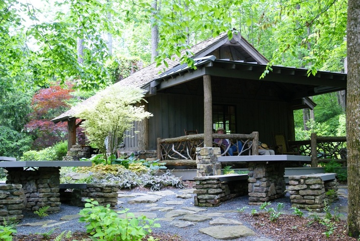 Rustic cabin structure photographed by heather moll dunn for Cabin landscaping