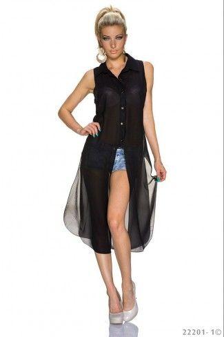 Transparent σιφόν μακρύ πουκάμισο - Μαύρο