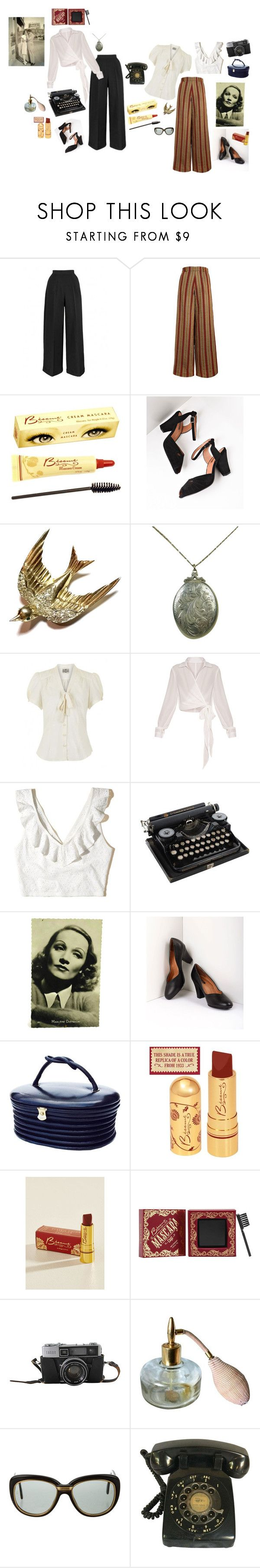 """""""1940s"""" by willow44444 ❤ liked on Polyvore featuring The Bee's Sneeze, Royal Vintage, CORO, Hollister Co., Bésame, Cartier, vintage, oldhollywood, 40s and 1940s"""
