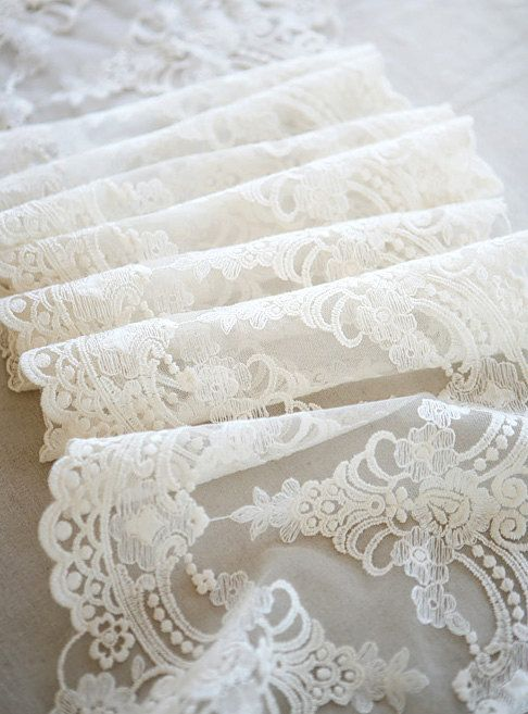White Lace Fabric Trim, Vintage Lace Trim, Luxury Lace Trim ,White Lace Veil and Dress