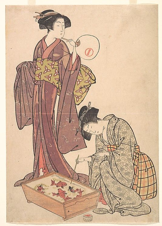 Two Women Feeding Fish  Kitao Shigemasa  (Japanese, 1739–1820)  Artist: or Masanobu (Japanese, 1761–1816) Period: Edo period (1615–1868) Culture: Japan Medium: Polychrome woodblock print; ink and color on paper
