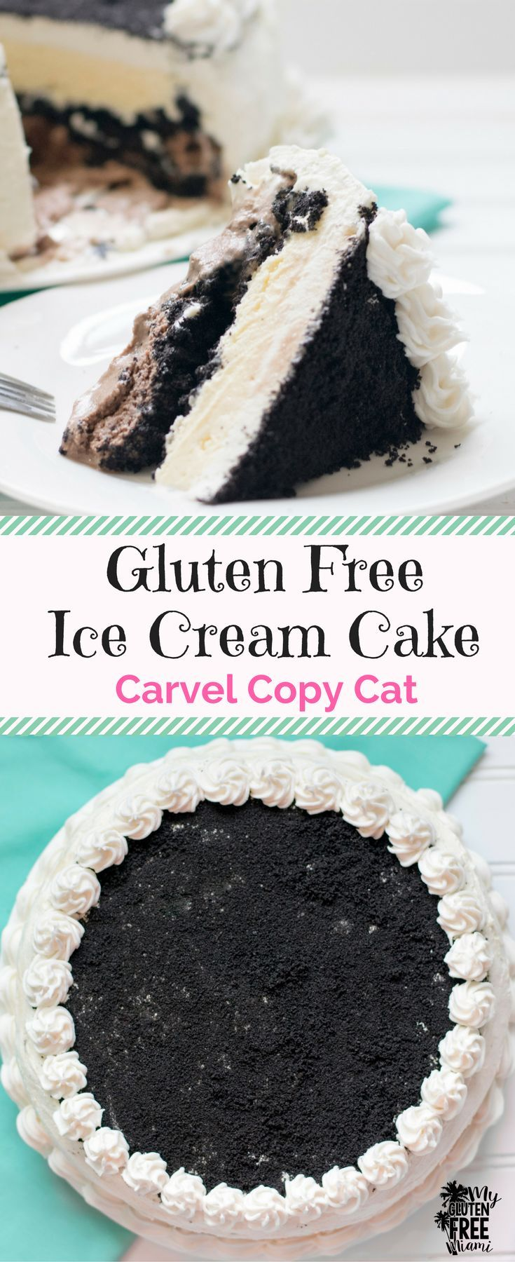 Gluten Free Ice Cream Cake (Carvel Copy Cat) with a crunchy chocolate cookie layer is the perfect birthday party addition or summer treat! Super easy to make! via @GLUTENFREEMIAMI
