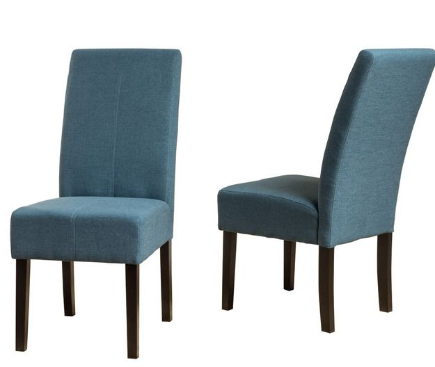 Blue Fabric Dining Chair Set Of 2 Modern T Stitch Cushioned Office