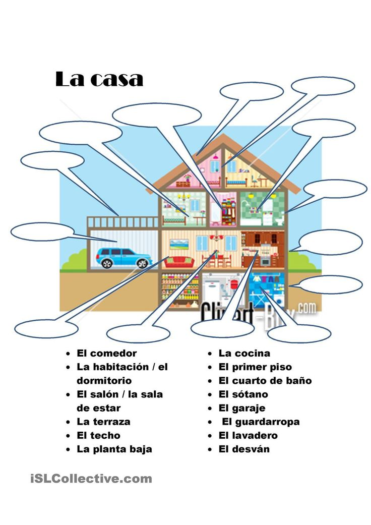 La casa - With each room could also practice forming sentences by applying terms that relate to that room like <Yo cocino comida en la cocina,> or <mi cuarto favorito en la casa es --- porque...>