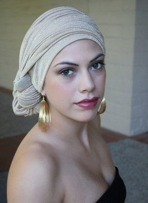 Turban, Head Wrap Gold Metallic Jersey, Cancer scarves, alopecia scarf, chemo hat