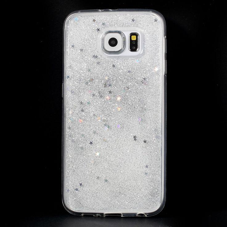 Samsung-Galaxy-S6-Sterne-Glitzer-Handyhuelle-Cover-Huelle-Case-Transparent