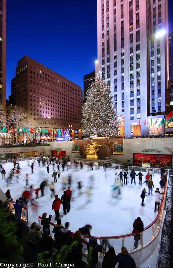 Ice skating at the Rockefeller Center.